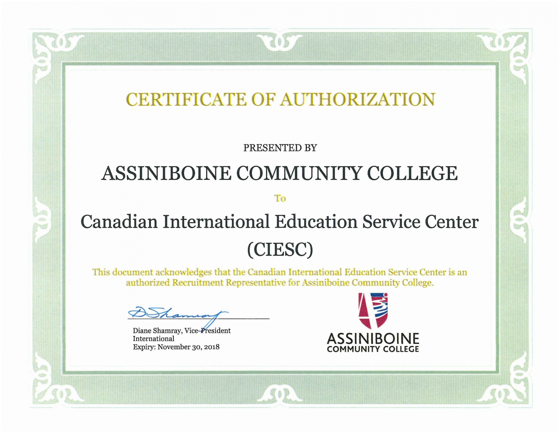 2018 ACC Certificate of Authorization - CIESC